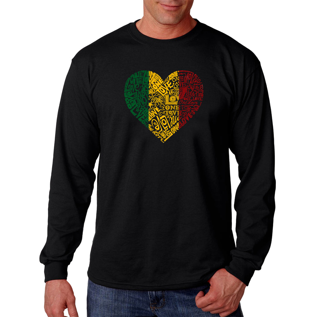 LA Pop Art  Men's Word Art Long Sleeve T-shirt - One Love Heart