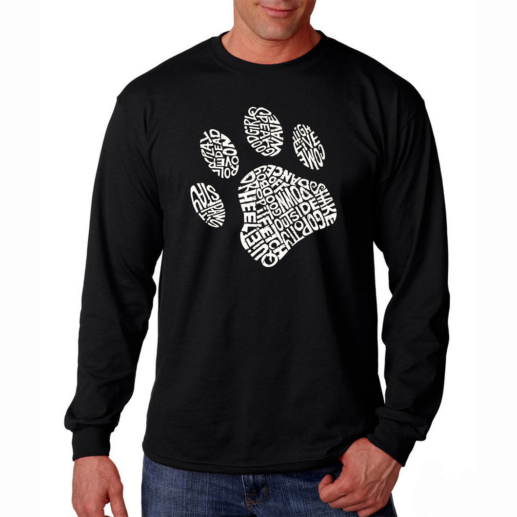 LA Pop Art Men's Word Art Long Sleeve T-shirt - Dog Paw