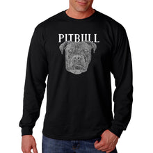 Load image into Gallery viewer, LA Pop Art Men's Word Art Long Sleeve T-shirt - Pitbull Face