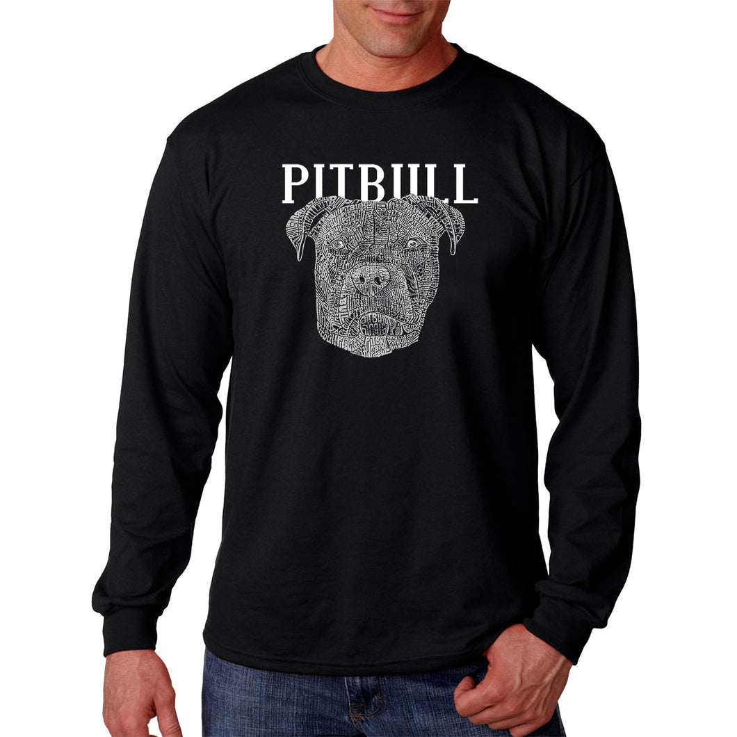 LA Pop Art Men's Word Art Long Sleeve T-shirt - Pitbull Face