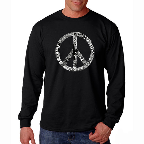 LA Pop Art Men's Word Art Long Sleeve T-shirt - PEACE, LOVE, & MUSIC