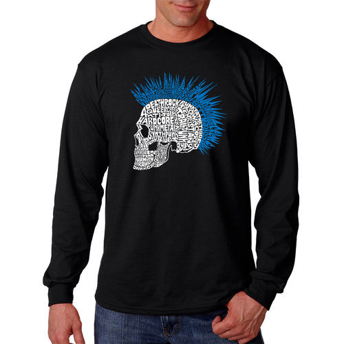 LA Pop Art Men's Word Art Long Sleeve T-shirt - Punk Mohawk