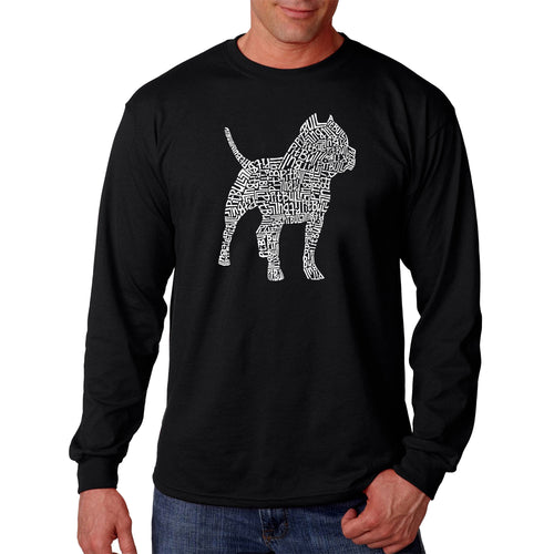 LA Pop Art  Men's Word Art Long Sleeve T-shirt - Pitbull