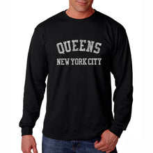 Load image into Gallery viewer, LA Pop Art Men's Word Art Long Sleeve T-shirt - POPULAR NEIGHBORHOODS IN QUEENS, NY