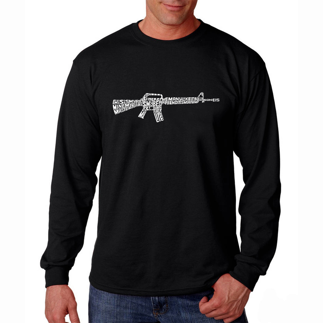 LA Pop Art Men's Word Art Long Sleeve T-shirt - RIFLEMANS CREED