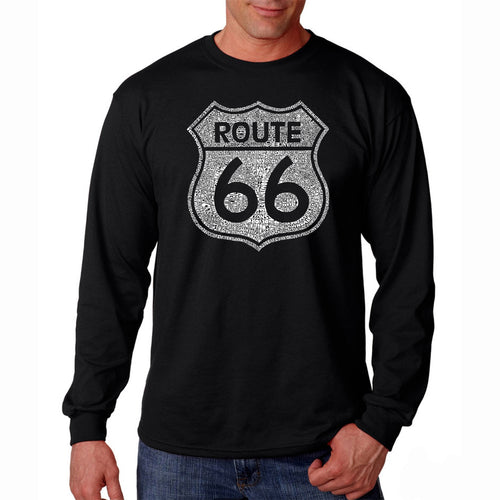 LA Pop Art Men's Word Art Long Sleeve T-shirt - CITIES ALONG THE LEGENDARY ROUTE 66