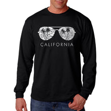 Load image into Gallery viewer, LA Pop Art Men's Word Art Long Sleeve T-shirt - California Shades