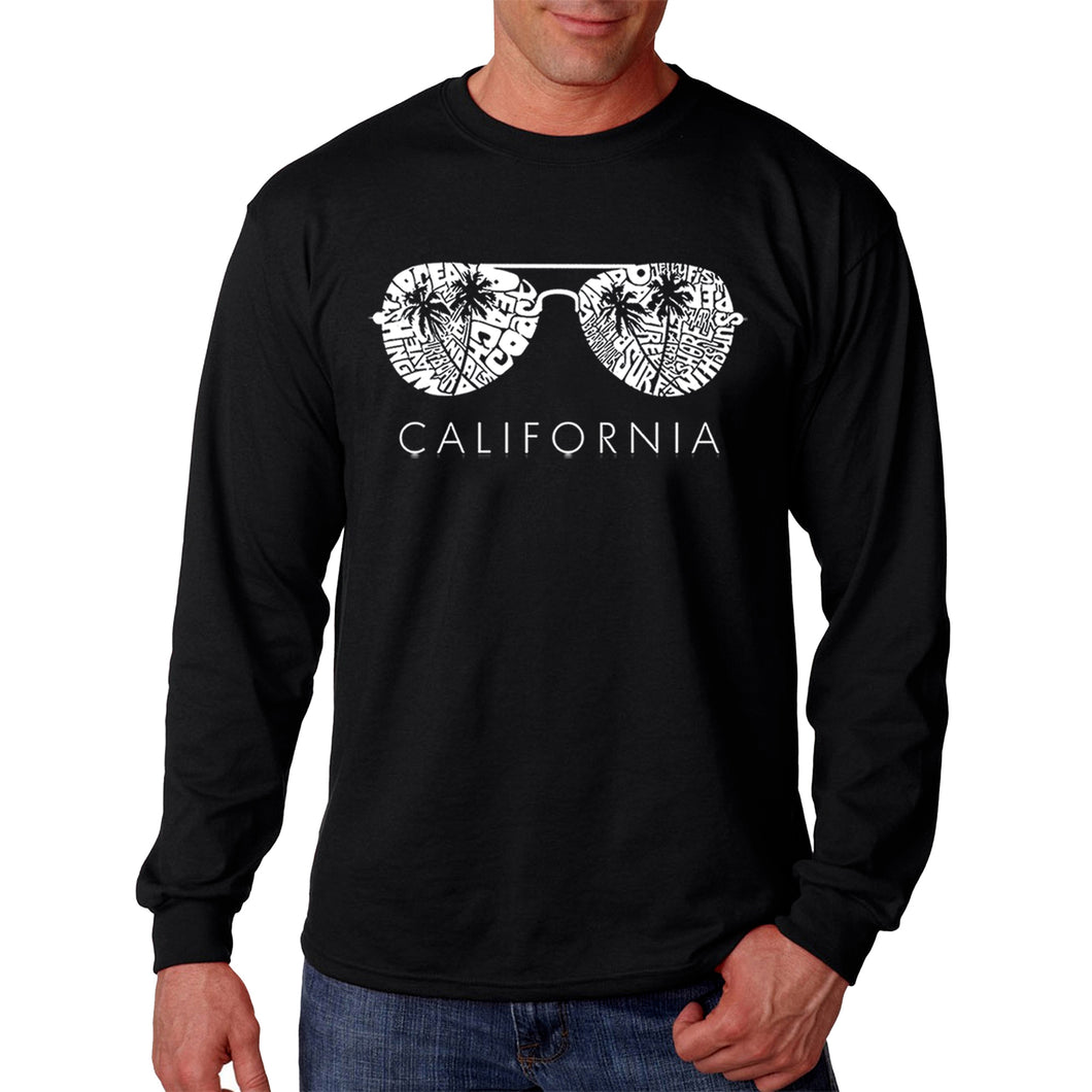 LA Pop Art Men's Word Art Long Sleeve T-shirt - California Shades