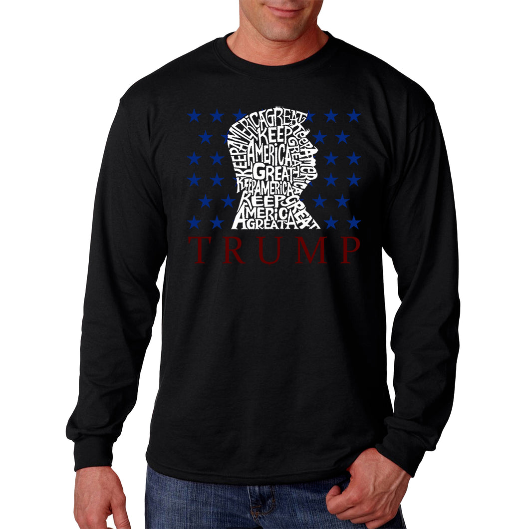 LA Pop Art Men's Word Art Long Sleeve T-shirt - Keep America Great