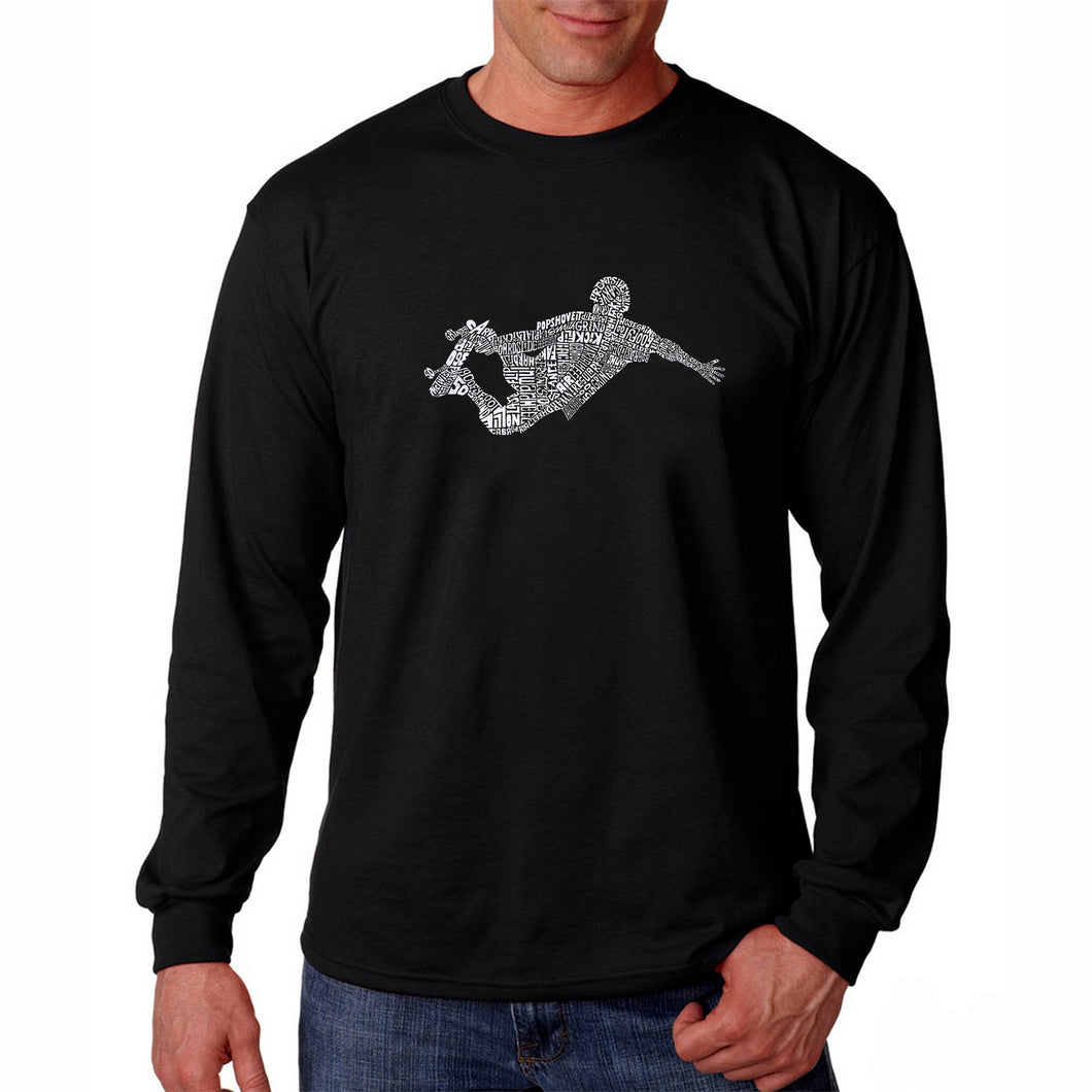 LA Pop Art Men's Word Art Long Sleeve T-shirt - POPULAR SKATING MOVES & TRICKS