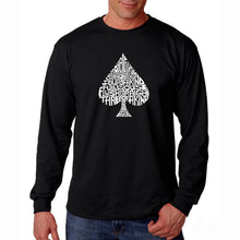 Load image into Gallery viewer, LA Pop Art Men's Word Art Long Sleeve T-shirt - ORDER OF WINNING POKER HANDS