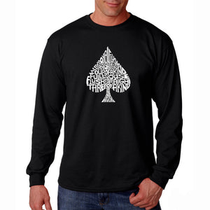 LA Pop Art Men's Word Art Long Sleeve T-shirt - ORDER OF WINNING POKER HANDS