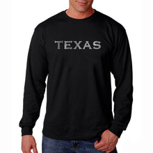 Load image into Gallery viewer, LA Pop Art Men's Word Art Long Sleeve T-shirt - THE GREAT CITIES OF TEXAS