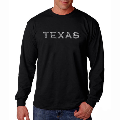 LA Pop Art Men's Word Art Long Sleeve T-shirt - THE GREAT CITIES OF TEXAS