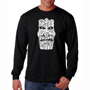 LA Pop Art Men's Word Art Long Sleeve T-shirt - TIKI - BIG KAHUNA