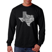 Load image into Gallery viewer, LA Pop Art Men's Word Art Long Sleeve T-shirt - The Great State of Texas
