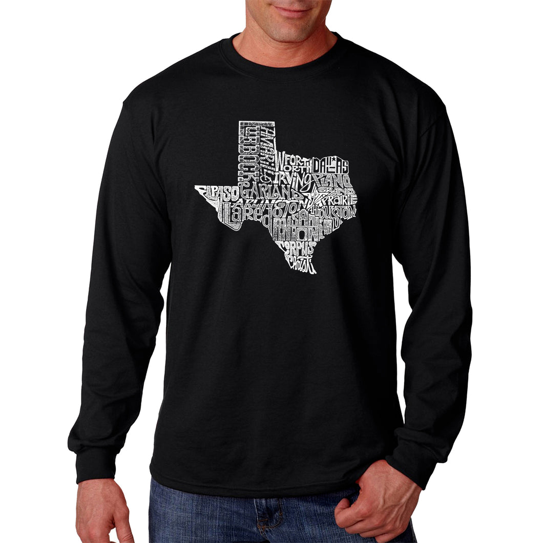 LA Pop Art Men's Word Art Long Sleeve T-shirt - The Great State of Texas