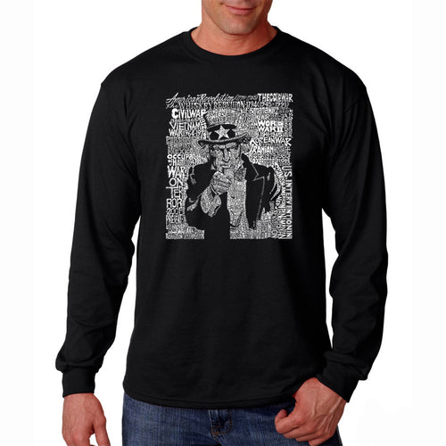 LA Pop Art Men's Word Art Long Sleeve T-shirt - UNCLE SAM