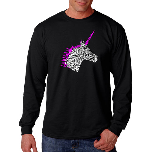 LA Pop Art Men's Word Art Long Sleeve T-shirt - Unicorn