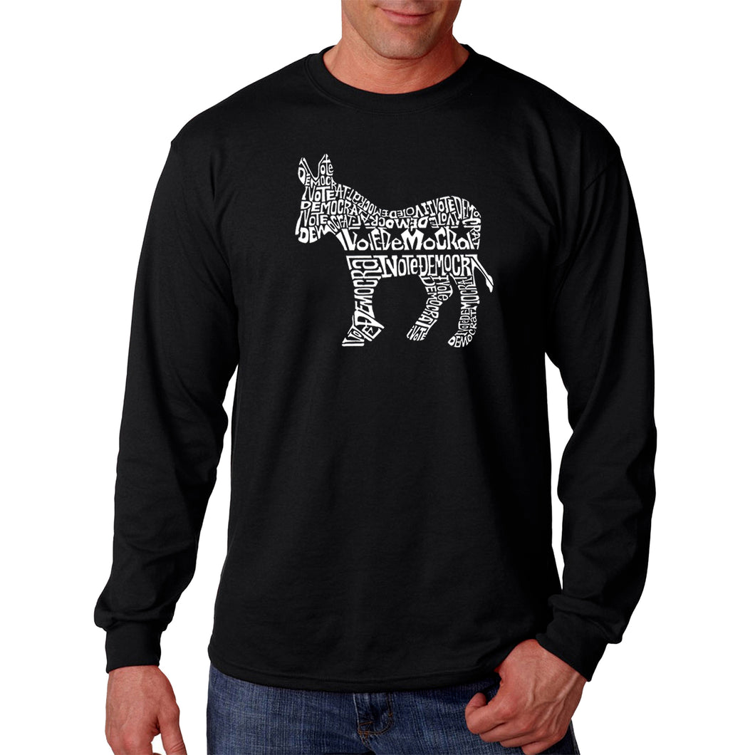 LA Pop Art Men's Word Art Long Sleeve T-shirt - I Vote Democrat