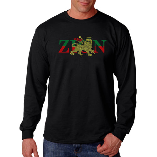 LA Pop Art Men's Word Art Long Sleeve T-shirt - Zion - One Love