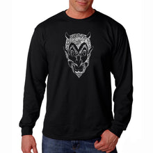 Load image into Gallery viewer, LA Pop Art Men's Word Art Long Sleeve T-shirt - THE DEVIL'S NAMES