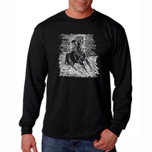 Load image into Gallery viewer, LA Pop Art Men's Word Art Long Sleeve T-shirt - POPULAR HORSE BREEDS