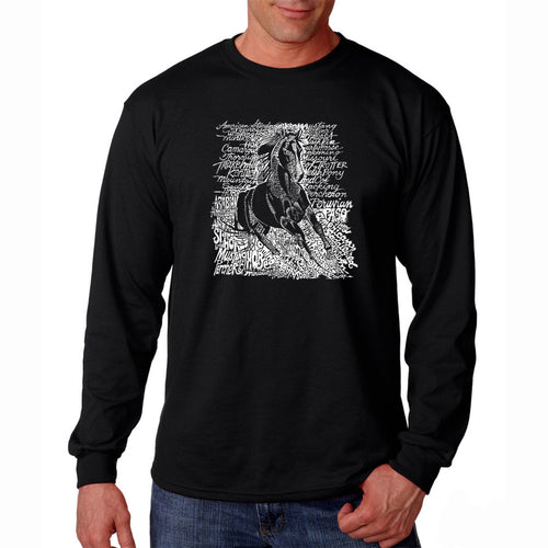 LA Pop Art Men's Word Art Long Sleeve T-shirt - POPULAR HORSE BREEDS