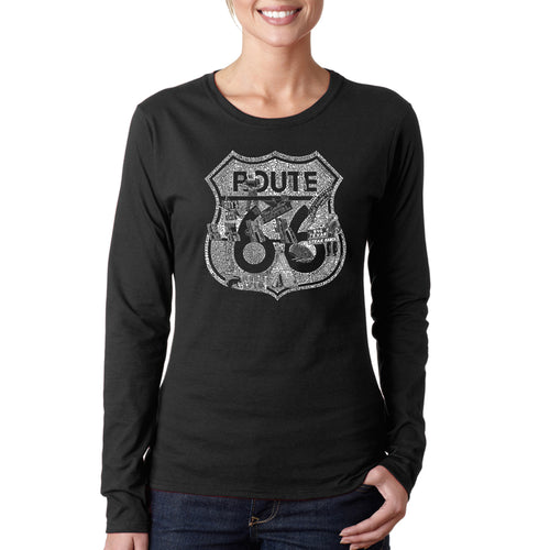 LA Pop Art Women's Word Art Long Sleeve T-Shirt - Stops Along Route 66