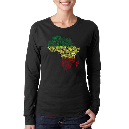 LA Pop Art Women's Word Art Long Sleeve T-Shirt - Countries in Africa