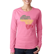 Load image into Gallery viewer, LA Pop Art Women's Word Art Long Sleeve T-Shirt - Countries in Africa