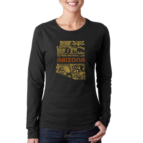 LA Pop Art Women's Word Art Long Sleeve T-Shirt - Az Pics