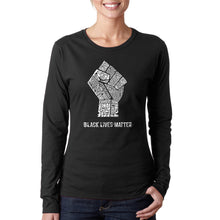 Load image into Gallery viewer, LA Pop Art Women's Word Art Long Sleeve T-Shirt - Black Lives Matter