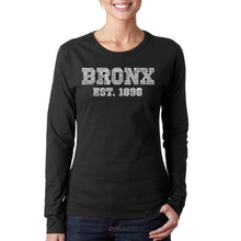 Load image into Gallery viewer, LA Pop Art Women's Word Art Long Sleeve T-Shirt - POPULAR NEIGHBORHOODS IN BRONX, NY