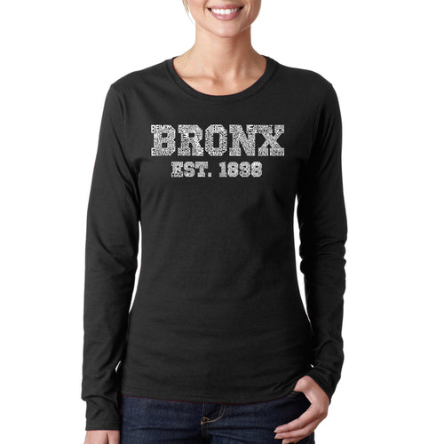 LA Pop Art Women's Word Art Long Sleeve T-Shirt - POPULAR NEIGHBORHOODS IN BRONX, NY