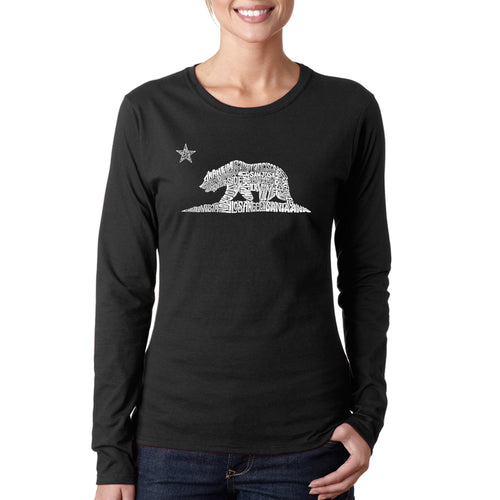 LA Pop Art Women's Word Art Long Sleeve T-Shirt - California Bear