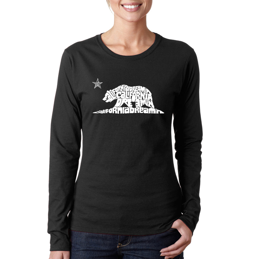 LA Pop Art Women's Word Art Long Sleeve T-Shirt - California Dreamin