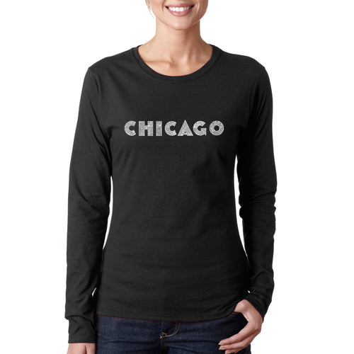 LA Pop Art Women's Word Art Long Sleeve T-Shirt - CHICAGO NEIGHBORHOODS