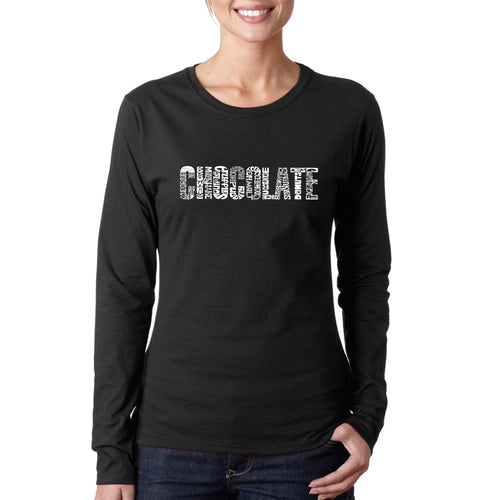 LA Pop Art Women's Word Art Long Sleeve T-Shirt - Different foods made with chocolate