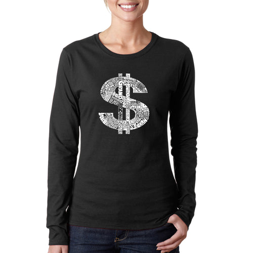 LA Pop Art Women's Word Art Long Sleeve T-Shirt - Dollar Sign