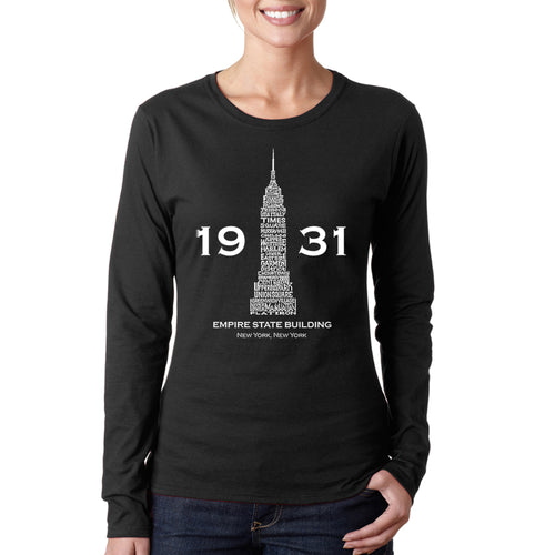 LA Pop Art Women's Word Art Long Sleeve T-Shirt - Empire State Building