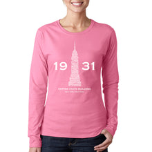 Load image into Gallery viewer, LA Pop Art Women's Word Art Long Sleeve T-Shirt - Empire State Building