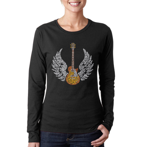 LA Pop Art Women's Word Art Long Sleeve T-Shirt - LYRICS TO FREE BIRD