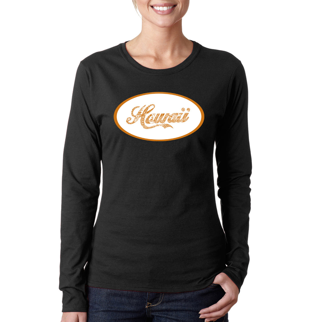 LA Pop Art Women's Word Art Long Sleeve T-Shirt - HAWAIIAN ISLAND NAMES & IMAGERY