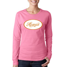 Load image into Gallery viewer, LA Pop Art Women's Word Art Long Sleeve T-Shirt - HAWAIIAN ISLAND NAMES & IMAGERY