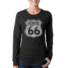 Load image into Gallery viewer, LA Pop Art Women's Word Art Long Sleeve T-Shirt - Life is a Highway