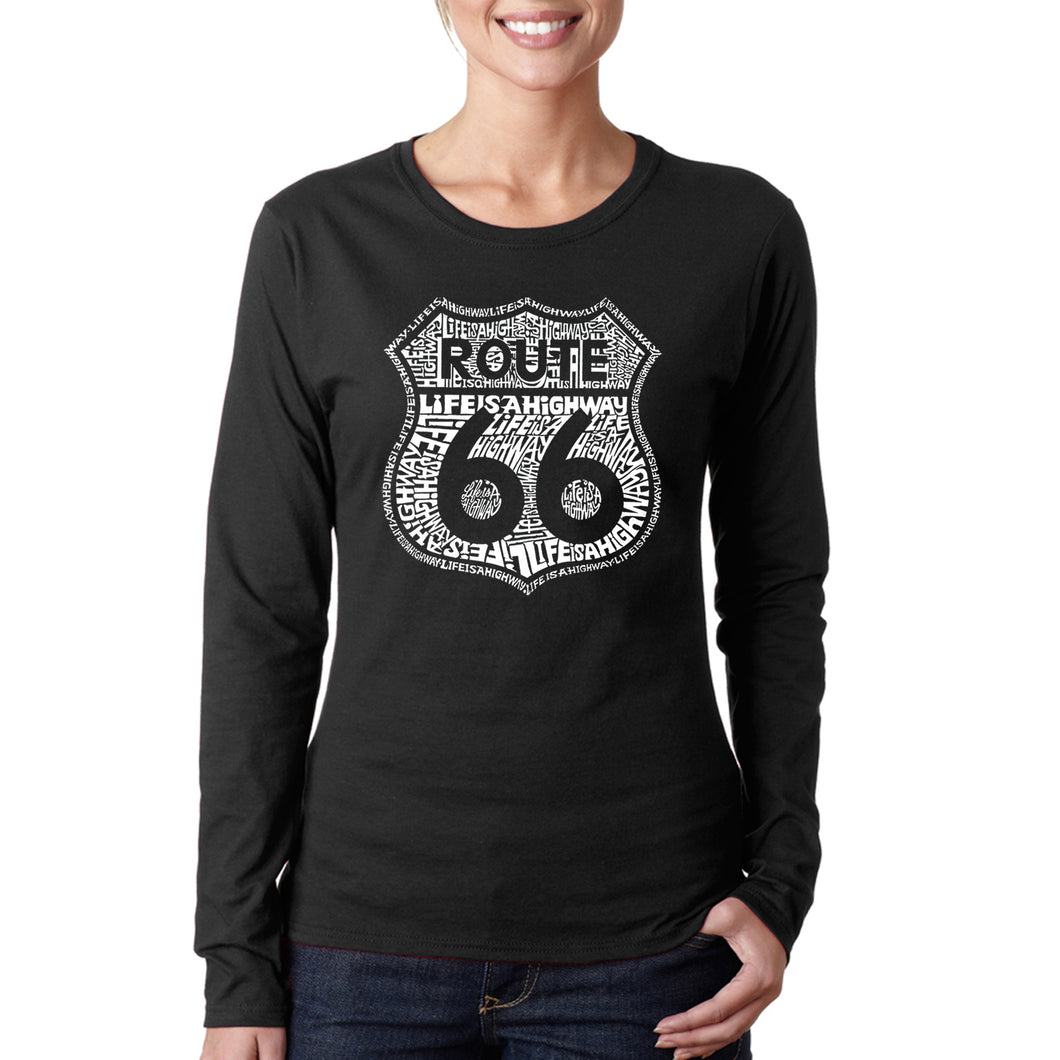 LA Pop Art Women's Word Art Long Sleeve T-Shirt - Life is a Highway