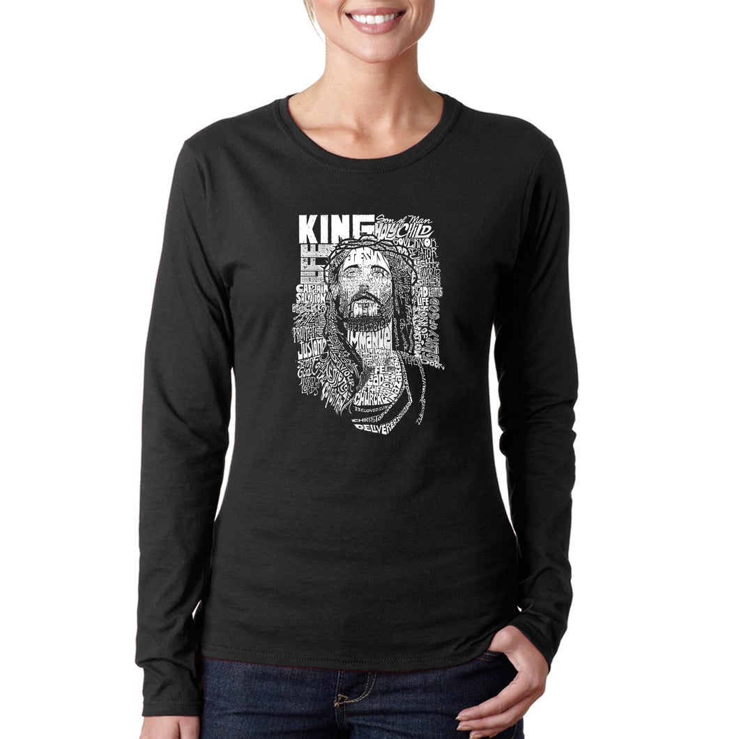 LA Pop Art Women's Word Art Long Sleeve T-Shirt - JESUS