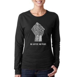 LA Pop Art Women's Word Art Long Sleeve T-Shirt - No Justice, No Peace