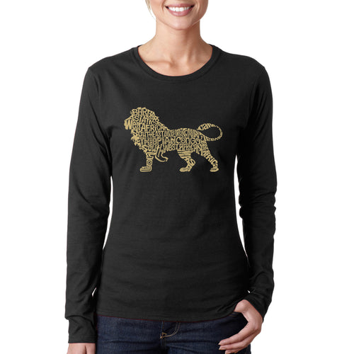 LA Pop Art Women's Word Art Long Sleeve T-Shirt - Lion